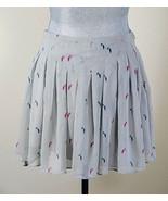 BCBGeneration Womens Gray Bird Pattern Sheer Pleated Flirty Mini Skirt L... - $11.13
