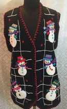 Bp Design Womens Large Christmas Sweater Vest Snowman L Winter Holiday - $31.73