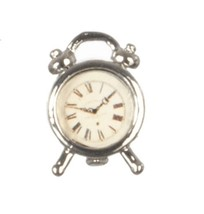 Dollhouse Miniatures Silver Alarm Clock #G7001 - $5.50