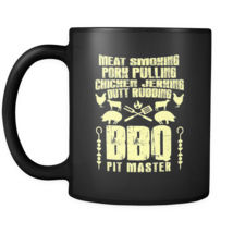 BBQ Lover Coffee Mug Meat Smoking Pork Pulling Chicken Jerking Black 11oz Mug - $15.95+