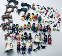 Playmobil Vintage Lot Figures Animals Girl Boy Baby Bride Zoo Knight Hat... - $193.04