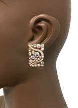 1.1/8 Long Deco Style Clip On Earrings AB Rhinestones Drag Queen Pageant Bridal - $14.54