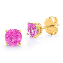 3.00 CT 7mm 14K YELLOW GOLD OCTOBER PINK SAPPHIRE ROUND CUT STUD EARRING... - $60.04
