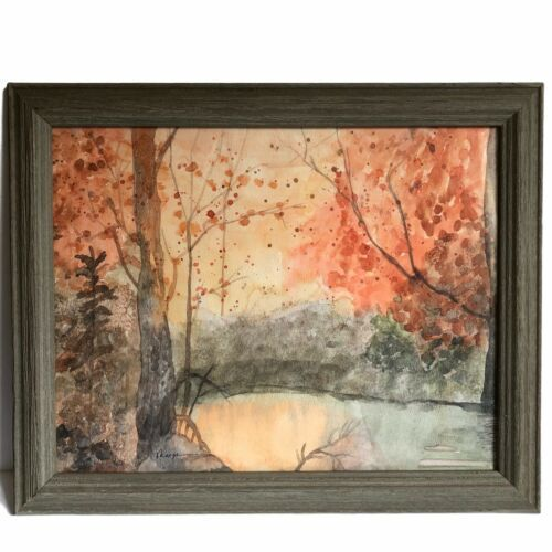 "Primary image for Forest Autumn Lake Landscape Painting Pinks Oranges Water Color 16"" Framed Glass"