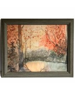 "Forest Autumn Lake Landscape Painting Pinks Oranges Water Color 16"" Fram... - $89.09"
