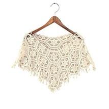 Women's Hollow-out Shawl Capelet Short Shirt Blouse, Bauhinia, BEIGE image 2