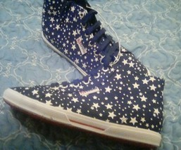 Ladies Superga High Top Sneakers Walking Shoes With Stars Print - Size 7... - $14.84