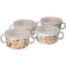 Mainstays Harvest Floral Set of 4 Double Handled Soup Bowl with Lid, Wal... - $511,45 MXN