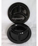LE Smith  Black Amethyst Grill Plates, Homestead, Black Glass No. 89, c.... - $15.00