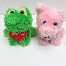 """Aurora pets Pink Pig and frog Plush animal kiss me and kiss and hugs 5"""" ... - $19.00"""