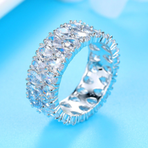 Silver Stackable Eternity Ring,2 Rows Pear Cut Cubic Zirconia Wide Weddi... - $17.58+