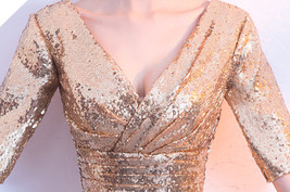 Women Long Sequin Dress Outfit Half Sleeve Wedding Gold Sequin Dress Plus Size image 8