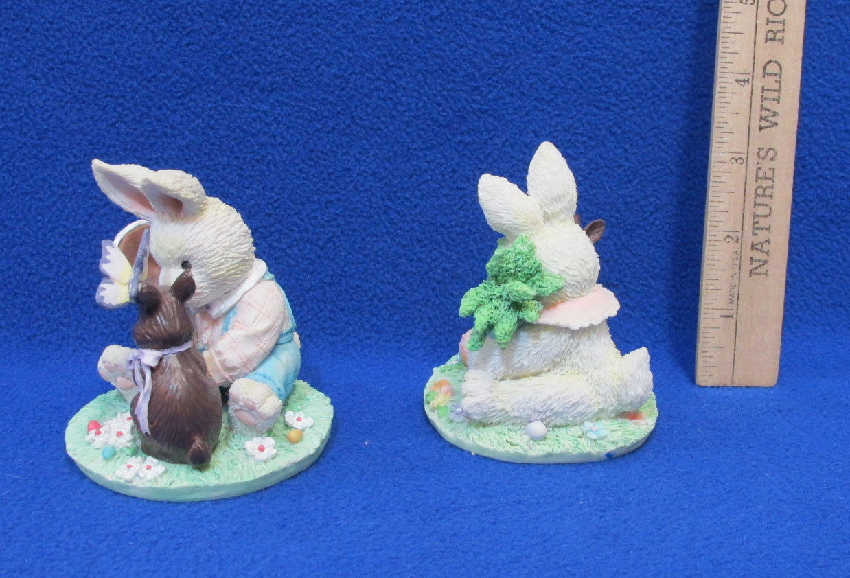 Spring Bunny Enesco Figurines By Mary Rhyner 1992 & 1993 Collectibles Lot 2