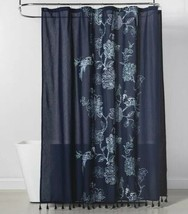 "Threshold Navy Floral Print Cotton Shower Curtain 72"" x 72"" Fringe Trim - $11.69"