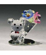 Crystal World Teddie Bears with Big Bouquet Figurine New In Box - $51.47