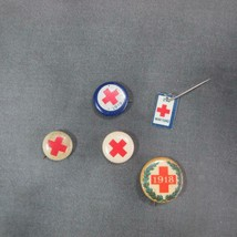 1918 Red Cross WW1 Pinback w/ Christmas Wreath plus 1919, 2nd War Fund, ... - $17.63