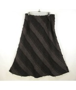 Tribal Bohemian Maxi Skirt Womans 14 Brown Fringed A-Line Lined Diagonal... - $33.81