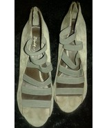 ELIZABETH & JAMES Green/Gray Suede Canvas Strappy Open Toe Wedges Sz 8 B - $31.19