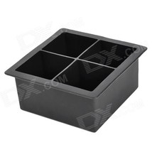 Soft Silicone Square Ice Cube Tray / Jelly / Pudding Mould - Black - $11.53