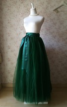 4-Layered DARK GREEN Tulle Skirt High Waisted Plus Size Long Puffy Tulle Skirt image 2