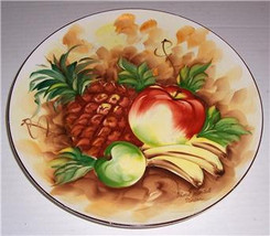 Original Handpainted Porcelain Fruit Display Plate Signed Norton, - $57.59