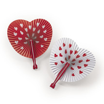 12 Valentine's Day Party Favors Paper VALENTINE HEART Shaped Folding Fan... - $7.49