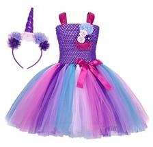 Cotrio Little Girls Unicorn Tutu Dress for Princess Halloween Costumes O... - $40.91