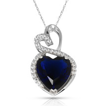 4.20 Carat Halo Blue Sapphire Double Heart Gemstone Pendant & Necklace14... - $150.73