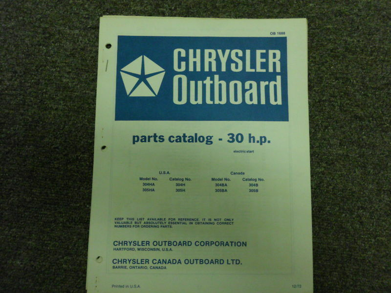 Primary image for 1972 Chrysler Outboard 30 hp Teile Katalog Elektrisch Sta