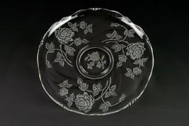 "Heisey Rose Etch Large Torte Tray, Vintage Elegant Etched Superb 13 3/4"" Cupped - $29.40"
