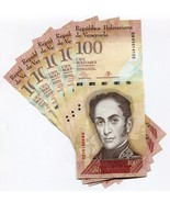 Venezuela P93 2013 100 Bolivares UNC Banknote Money x 5 Sequential Note Lot - $6.73 CAD