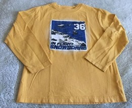 Children's Place Boys Yellow Snowboard Helicopter Long Sleeve Shirt 5-6 - $5.48