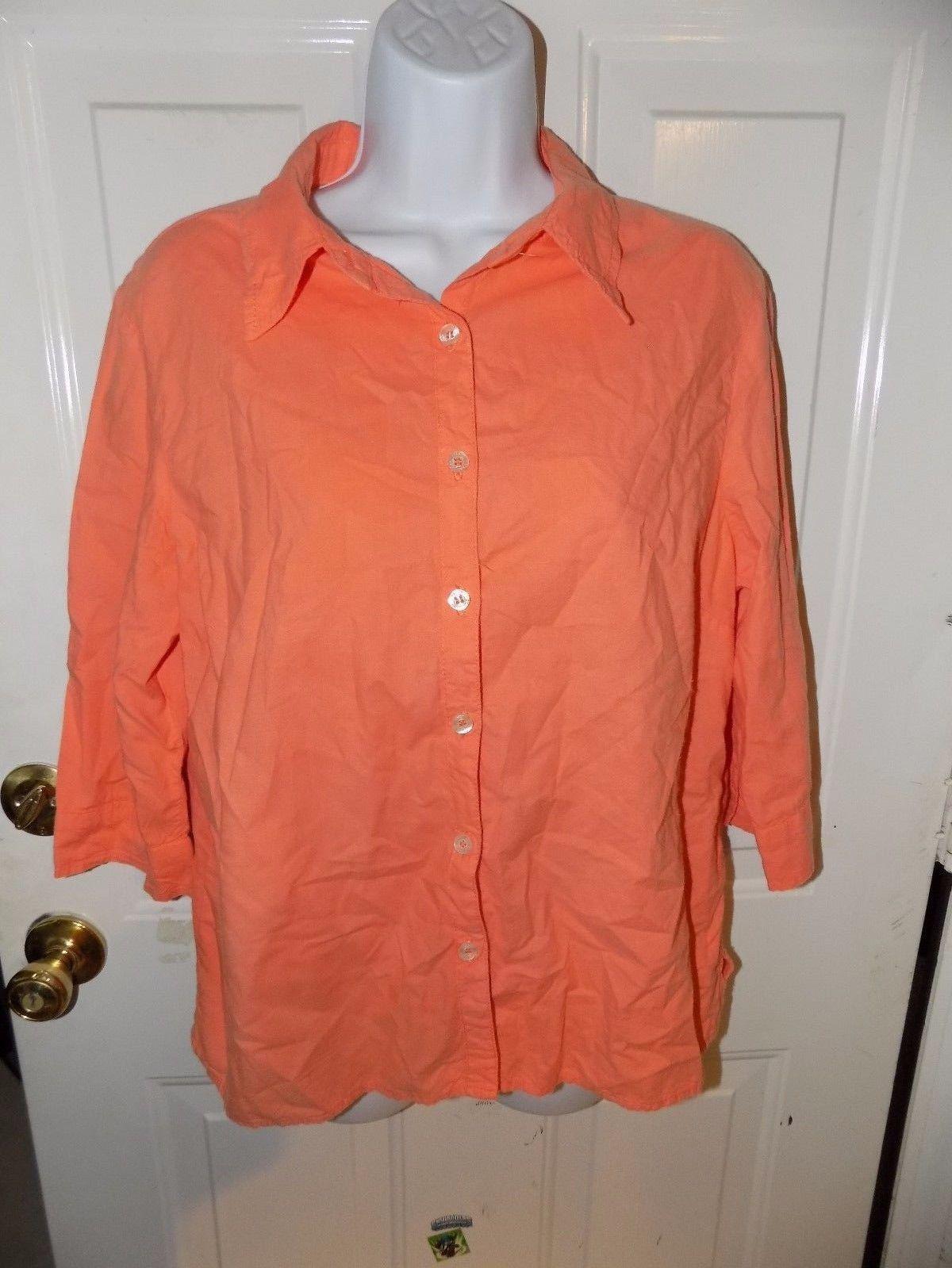 Primary image for Fresh Produce Peach Button Down  3/4 Sleeve Shirt Size M Women's EUC MADE IN USA