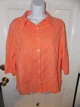 Fresh Produce Peach Button Down  3/4 Sleeve Shirt Size M Women's EUC MAD... - $21.06