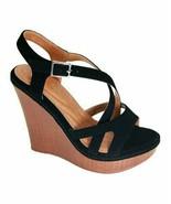 Bella Marie, Black Calvin Wedge Sandal, Sz 10 - $26.73