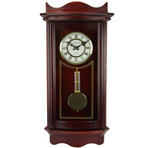 Bedford Clock Collection Weathered Cherry Wood 25 Wall Clock with Pendulum - $119.18