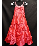 Coral Red Dress Girls Costume Gown Sequined Rhinestones Sleeveless Beade... - $42.06