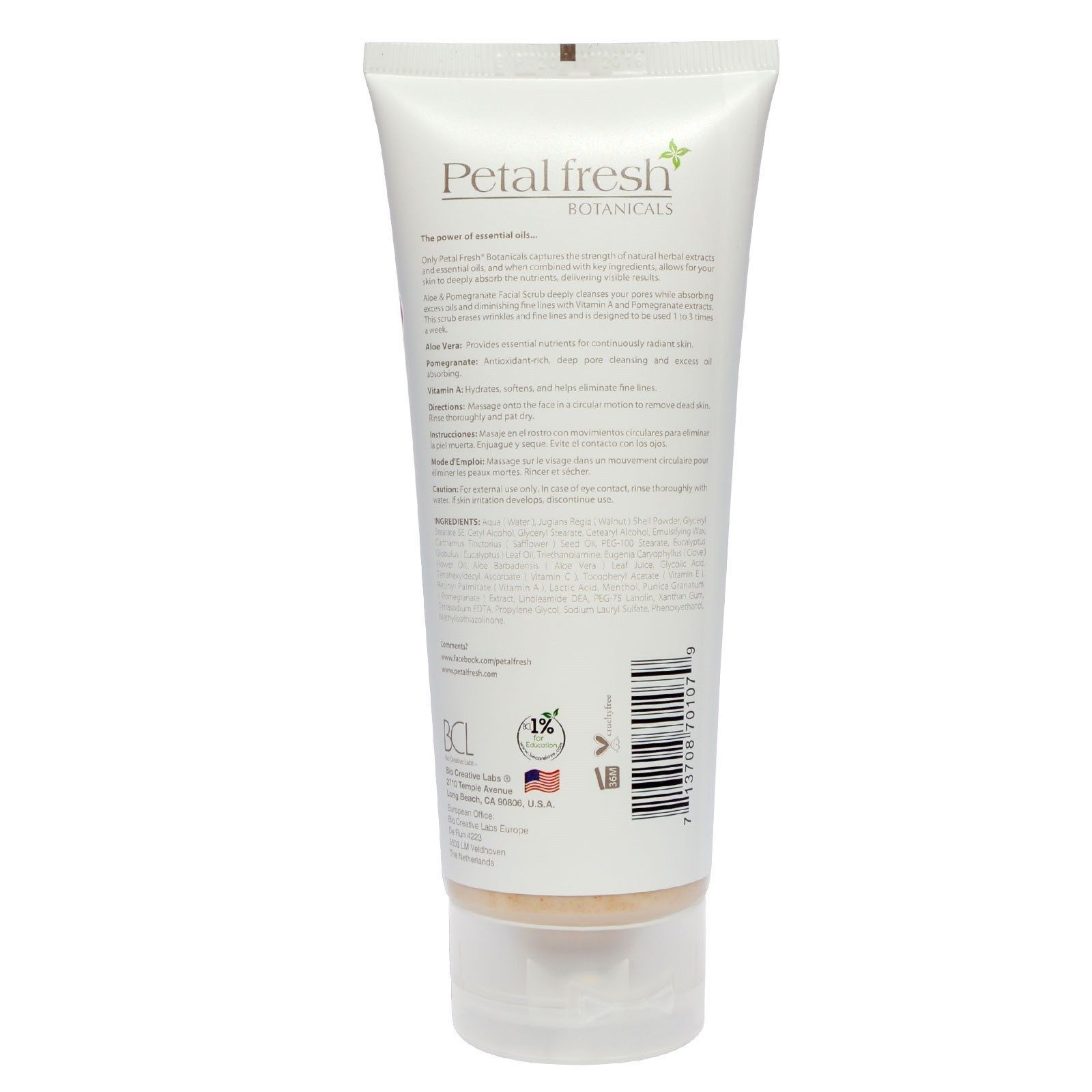 NEW Petal Fresh Botanicals - Age Defying FACIAL SCRUB - ALOE & POMEGRANATE - 7oz