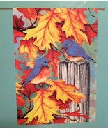 "Porch Flag Fall Autumn Leaves and Bluebirds 28"" x 40"" Rain or Shine New  - $15.79"
