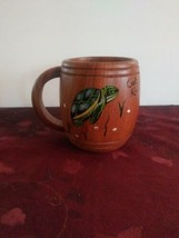 Handpainted Wooden Costa Rica Mug With Turtle - $18.69