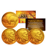 Lot of 3 Various Full Date BUFFALO NICKELS US Coins 24K Gold Plated Indi... - €9,19 EUR