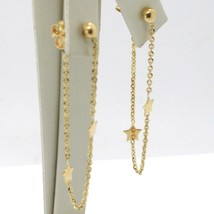 Drop Earrings Yellow Gold 750 18k, Chain Rolo and Stars, under the Lobe image 2