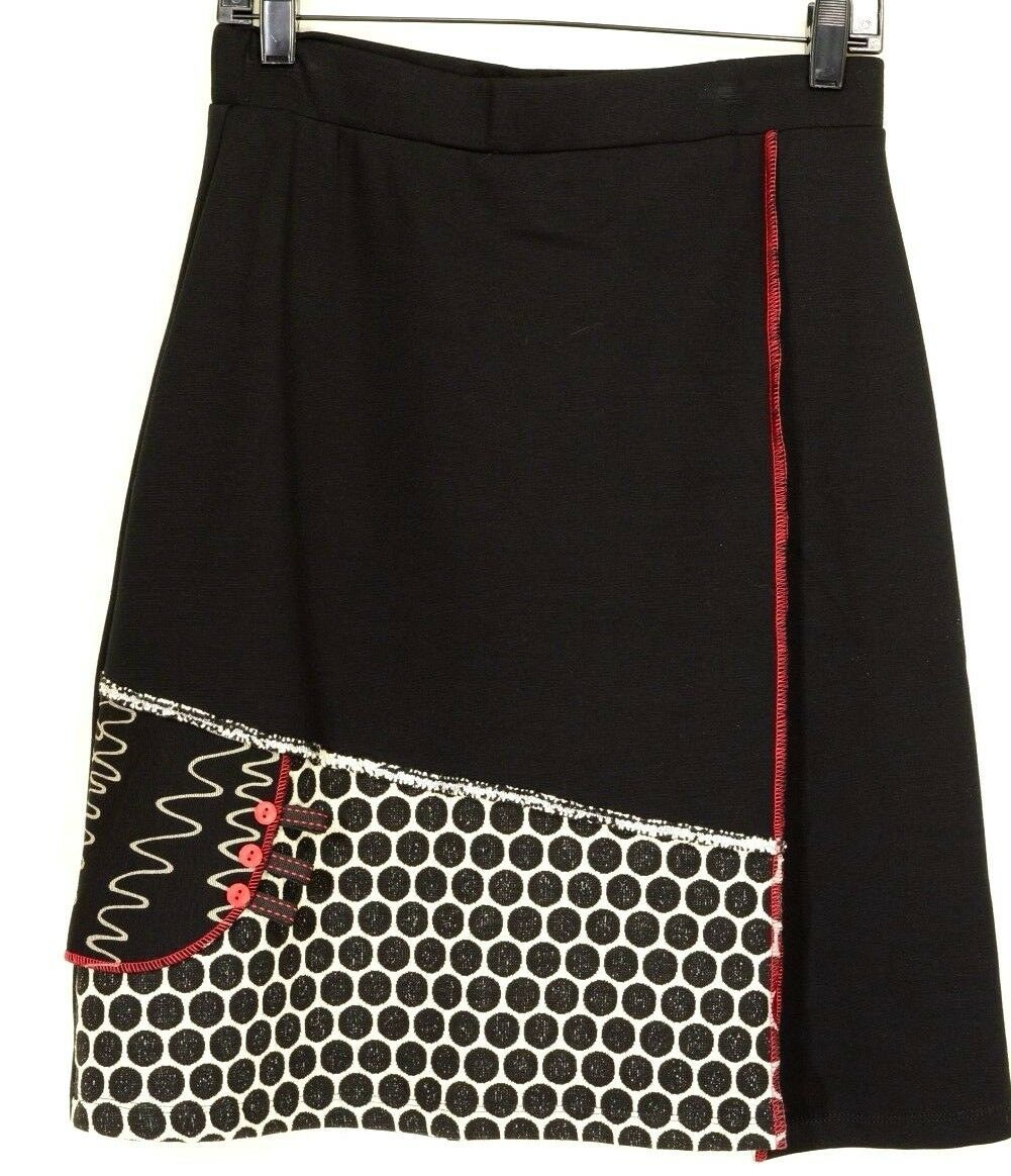 Zoe Michael Phillips skirt NWT black white red A-line knee chic stylish