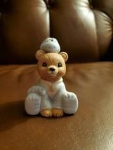 Vintage HOMCO Porcelain Bear Figurine #1438 bear wearing pajamas with di... - $5.50