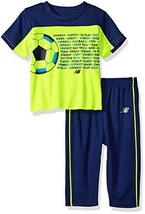 New Balance Boys' Athletic Tee and Pant Set (4|Little Boys|Hi Lite/Basin) - $34.63