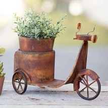 Primitive RUSTY SCOOTER PLANTER Country Rustic Farm Flower Pot Garden Ho... - $44.99
