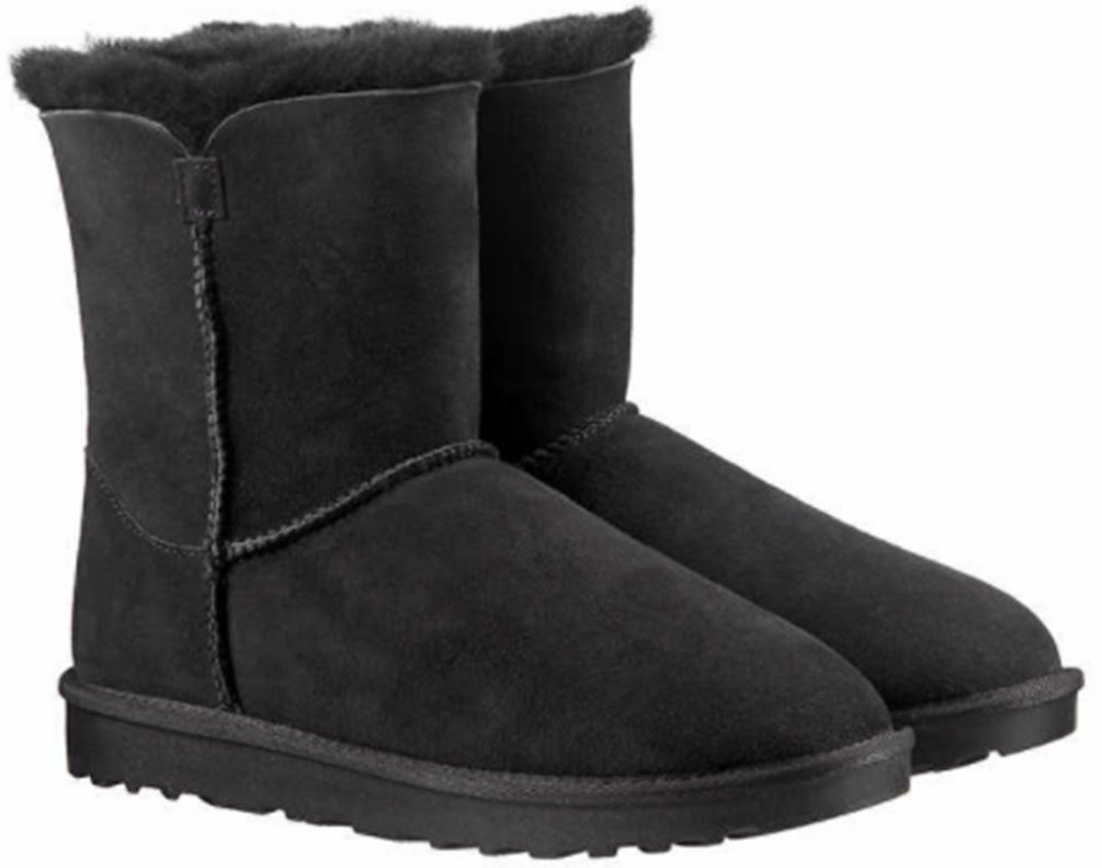 Kirkland Signature Women's Black Sheepskin Shearling Winter Boots w Zipper NIB