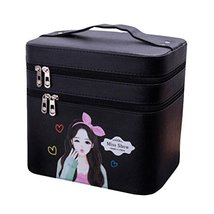 Cosmetics Case Makeup Train Case with Mirror Double Layer Cosmetics Organizer-Bl - $70.20