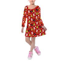 Christmas Mickey Baubles Disney Inspired Kids Velvet Winter Dress - $46.99+