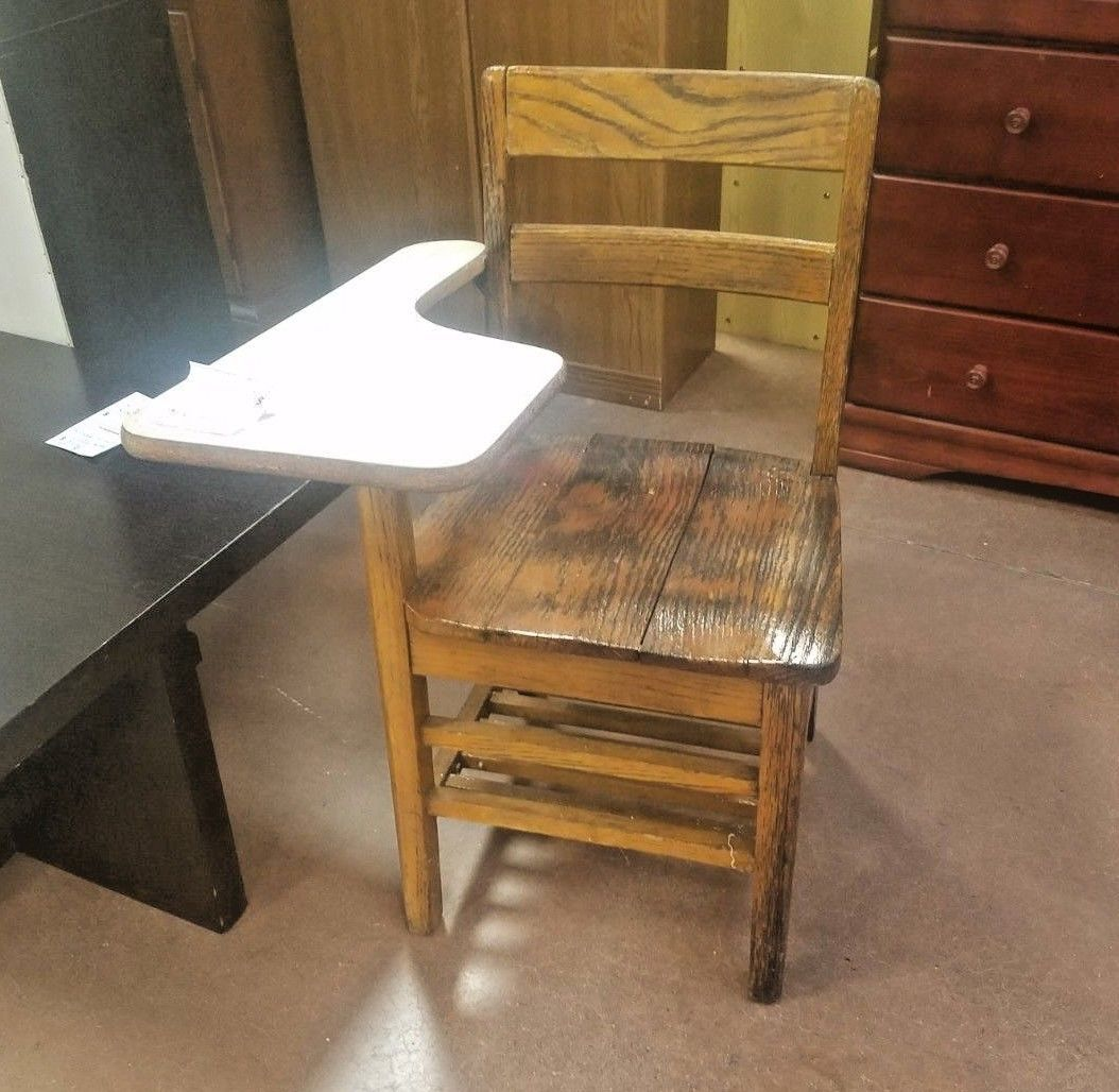 Vintage rare Student wooden chair and attached desk combo ...